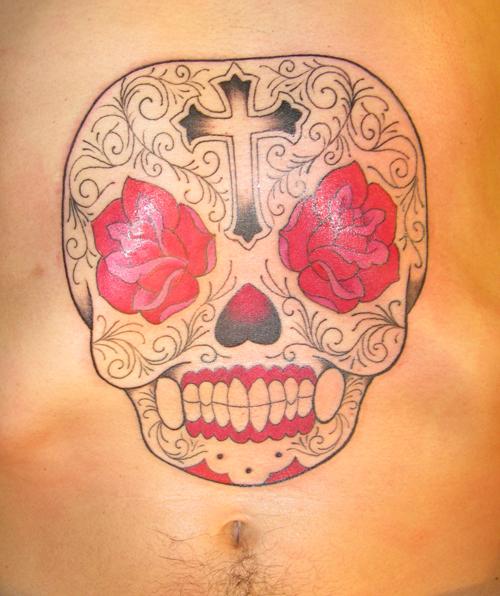 candy skull tattoo. sugar skull tattoo