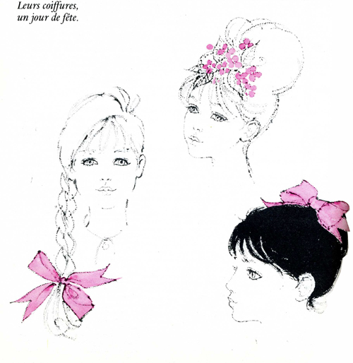 "1960's Hairstyles-French. From ""L'encyclopedie Beauté Bien-être"" 1964"